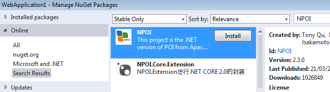 Installing NPOI in ASP.Net
