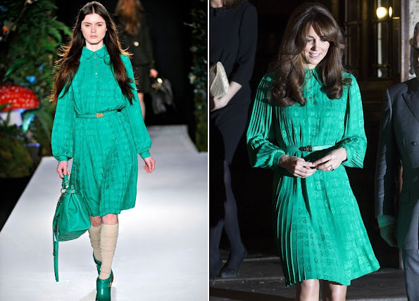 The Duchess of Cambridge, Kate Middleton wore a dress by Mulberry from Fall 2011 collection.