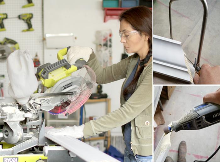 Cristina Garay using Ryobi miter saw to cut crown molding