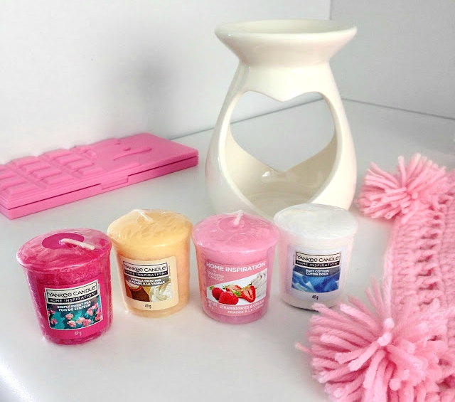 Yankee Candle, Home Inspirations, samplery - simply sweet pea, vanilla frosting, strawberry & cream, soft cotton