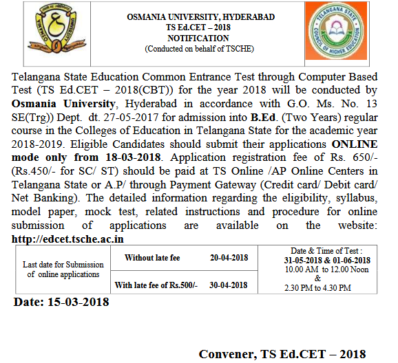 TS Ed Cet Notification