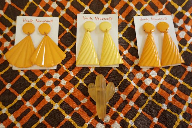 vintage plastic earrings cactus brooch geometric fabric 1960 1970 60s 70s 1980 80s