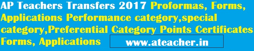 AP Teachers Transfers 2017 Needed Certificates,Forms,Proformas,Performance category,special category,Preferential Category Points Certificates