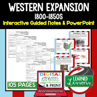 Western Expansion, American History Guided Notes, American History Interactive Notebook, Google and Print, American History Note Taking, American History PowerPoints, American History Anticipatory Guides