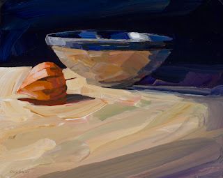 Still life painting of ceramic bowl and chinese lantern