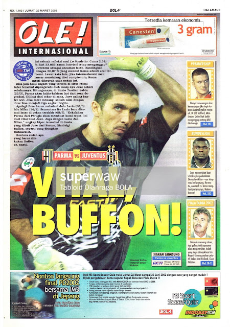 BUFFON JUVENTUS 2002 MAGAZINE COVER