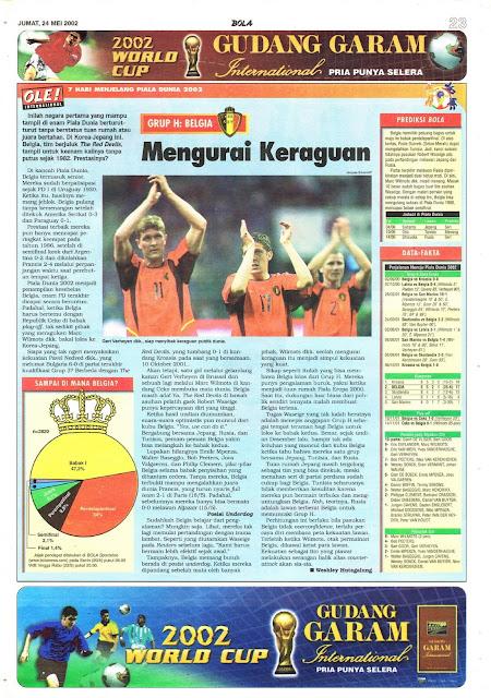 ROAD TO WORLD CUP 2002 BELGIUM TEAM PROFILE