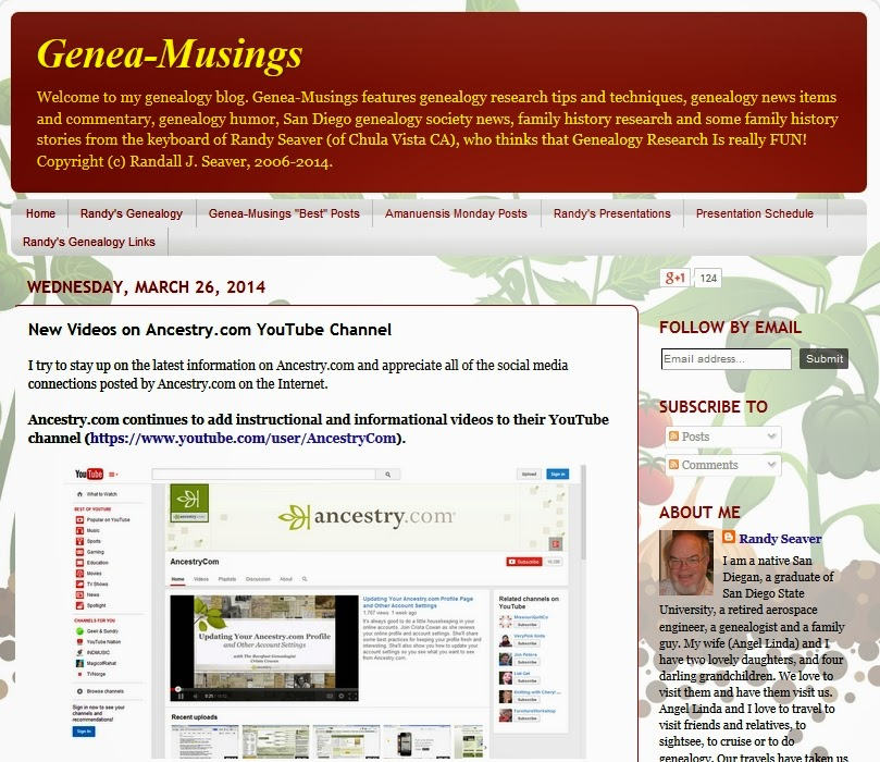 http://www.geneamusings.com/2014/03/new-videos-on-ancestrycom-youtube.html?utm_source=feedburner&utm_medium=email&utm_campaign=Feed%3A+geneamusings%2FlEXw+%28Genea-Musings%29