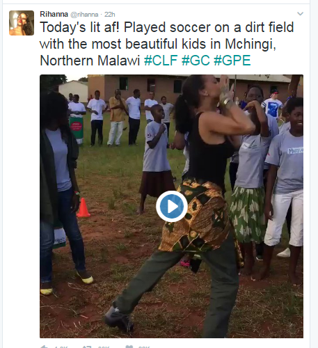 Video- Rihanna Play soccer the adorable lids in Malawi