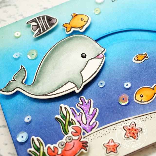Sunny Studio Stamps: Oceans Of Joy Birthday Slider Card by Lexa Levana