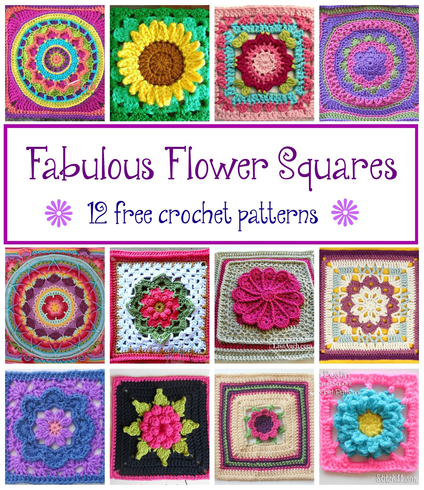 Fiber Flux: Fabulous Flower Squares! 12 Free Crochet Patterns...