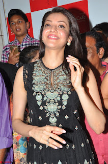 Kajal Aggarwal in lovely Black Sleeveless Anarlaki Dress in Hyderabad at Launch of Bahar Cafe at Madinaguda 010.JPG