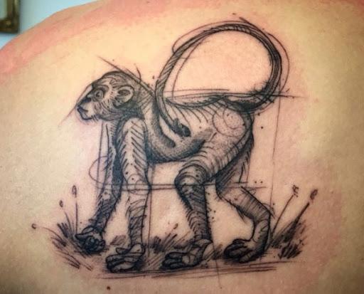 Macaco Esboço Do Projeto Da Tatuagem