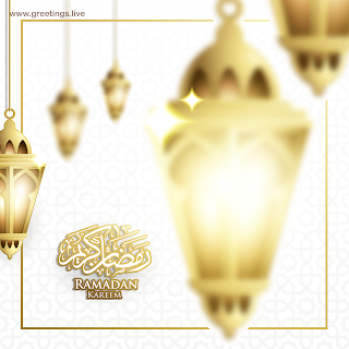 Ramadan Kareem in English fanoos lanterns arabic calligraphy  Islamic design background