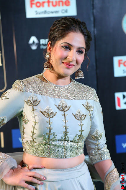 Gouri Munjal in a Tight Pista Coloured Ghagra Choli at IIFA Utsavam Awards 006.JPG
