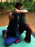 Thai Massage with Client in seated postion