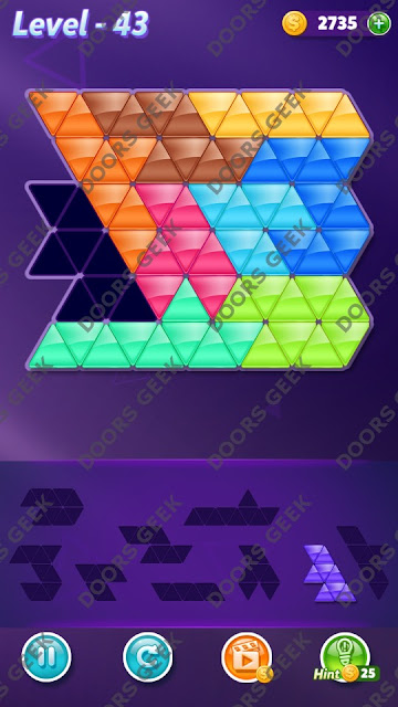 Block! Triangle Puzzle Proficient Level 43 Solution, Cheats, Walkthrough for Android, iPhone, iPad and iPod