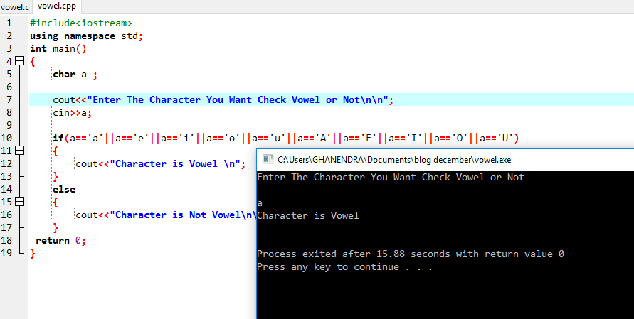 C++ Program To Find Character Is Vowel Or Not