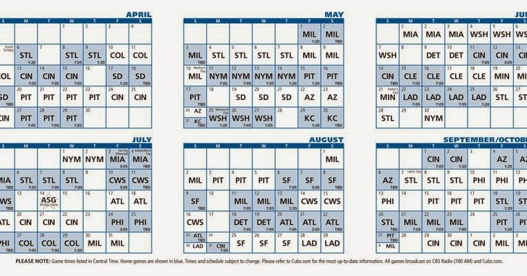 2019 Schedule Cubs Chicago Printable