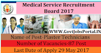 Tamil Nadu Medical Service Recruitment Board 2017– 87 Plaster Technicians