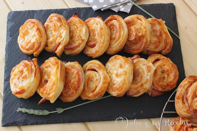 Enrollados de queso y jamón cocido. Julia y sus recetas