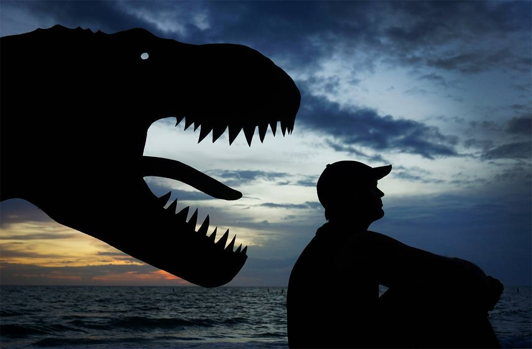 05-T-Rex-John-Marshall-Sunset-Selfie-Photographs-with-Cardboard-Cutouts-www-designstack-co