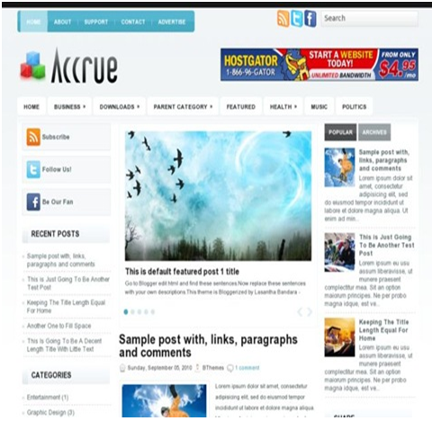 Free Accure Blogger Template