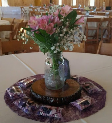 Frugal country chic wedding reception centerpiece!