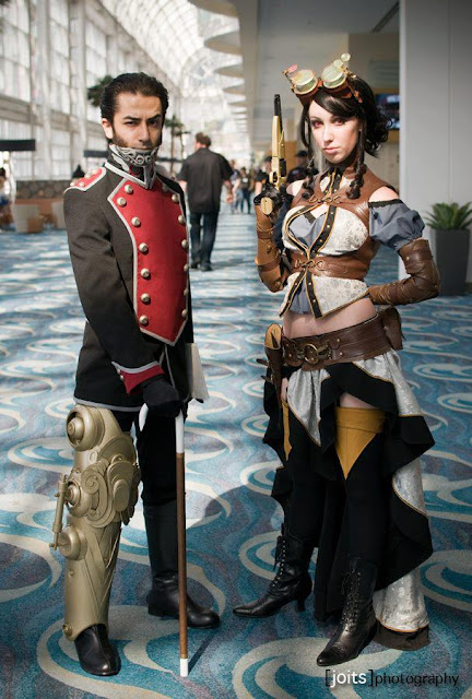 steampunk comic book cosplay of Lady Mechanika and Lord Blackpool. Steampunk costumes with mechanical leg and mechanical jaw. bionic body parts, supernatural powers and red eyes.