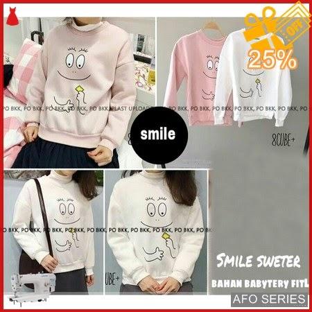 AFO454 Model Fashion Smile Sweter Modis Murah BMGShop
