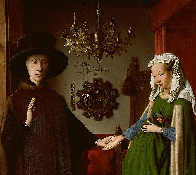 Arnolfini Wedding Portrait Detail Of The Figures Van Eyck 1434