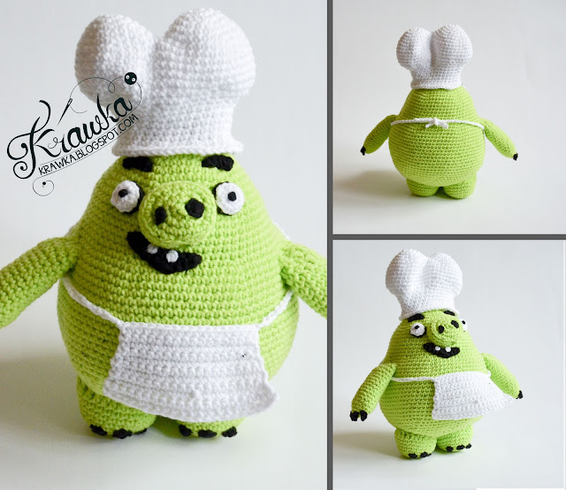 Krawka: Angry Birds PIG from the Angry Birds movie - 4 looks in one pattern: Basic Pig, Leonard Pig ( with beard), Chef pig (Cook), Earl (country pig - cowboy look). Dress up toy crochet pattern by Krawka
