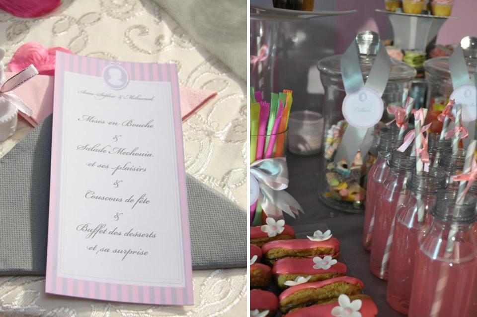 table gourmande et menu pour les invites decore en rose