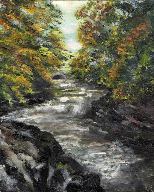 oil painting of River Tavy, Tavistock, Devon