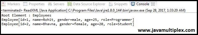Java XML DOM Parser Output Part2
