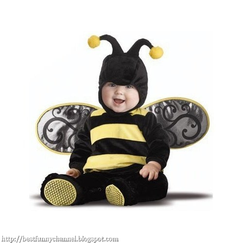 Nice baby in dressed as a bee