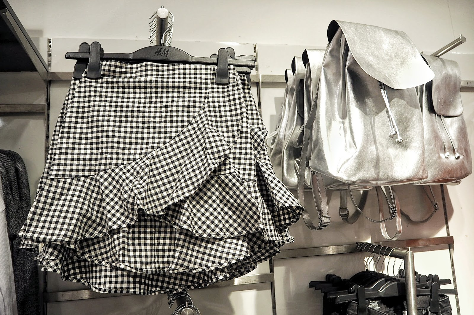 H&M Gingham Wrapover Skirt