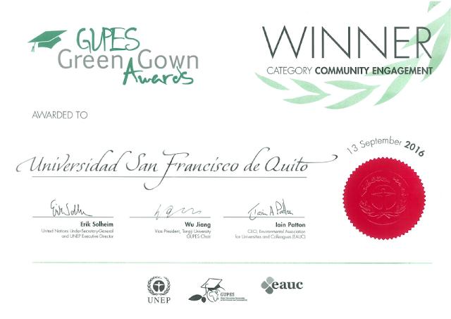 La USFQ fue la ganadora del GUPES Green Gown Award en Latinoamérica y el Caribe