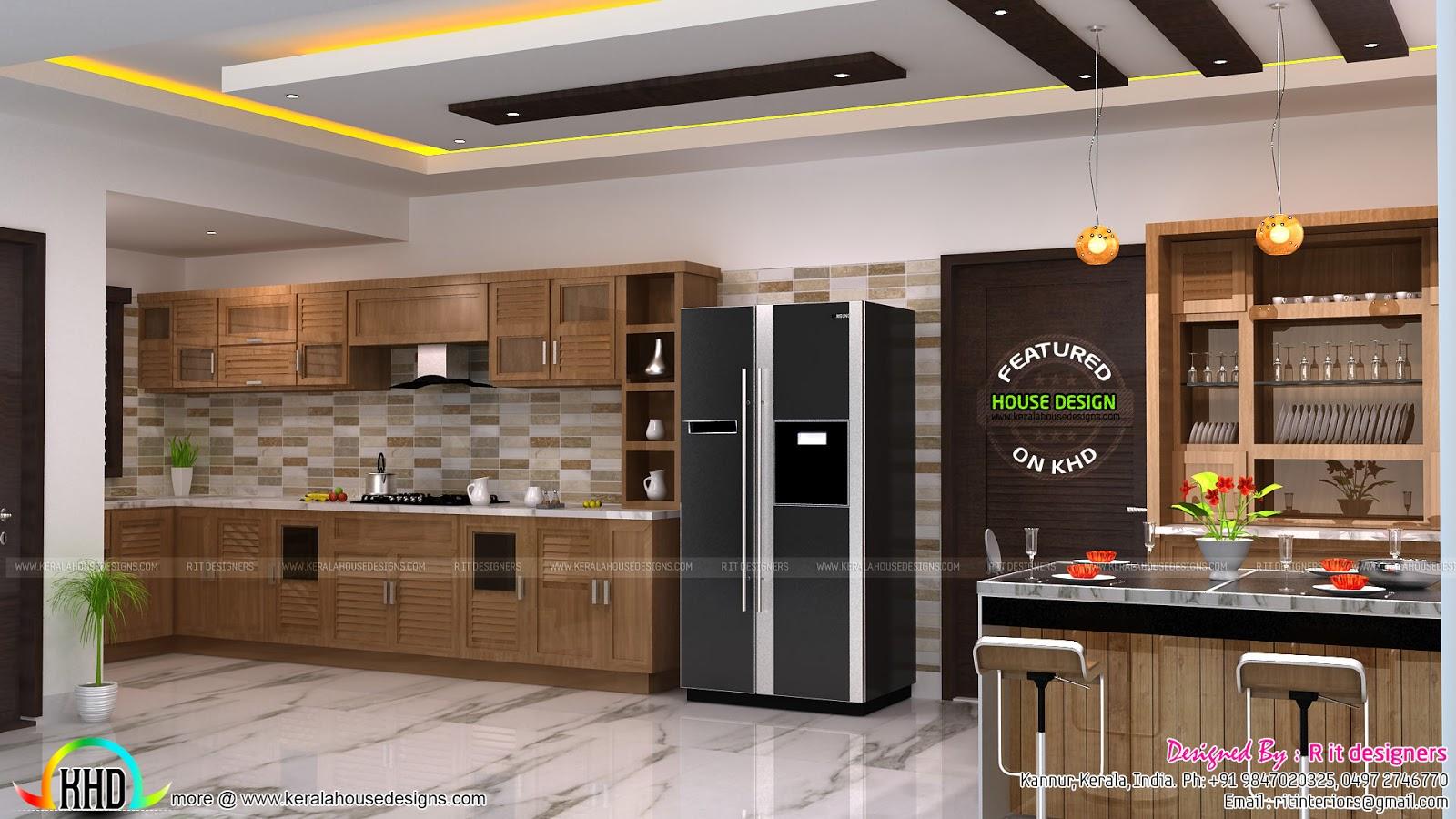 Luxurious Bathroom Bedroom Open Kitchen Interior Kerala Home Design And F