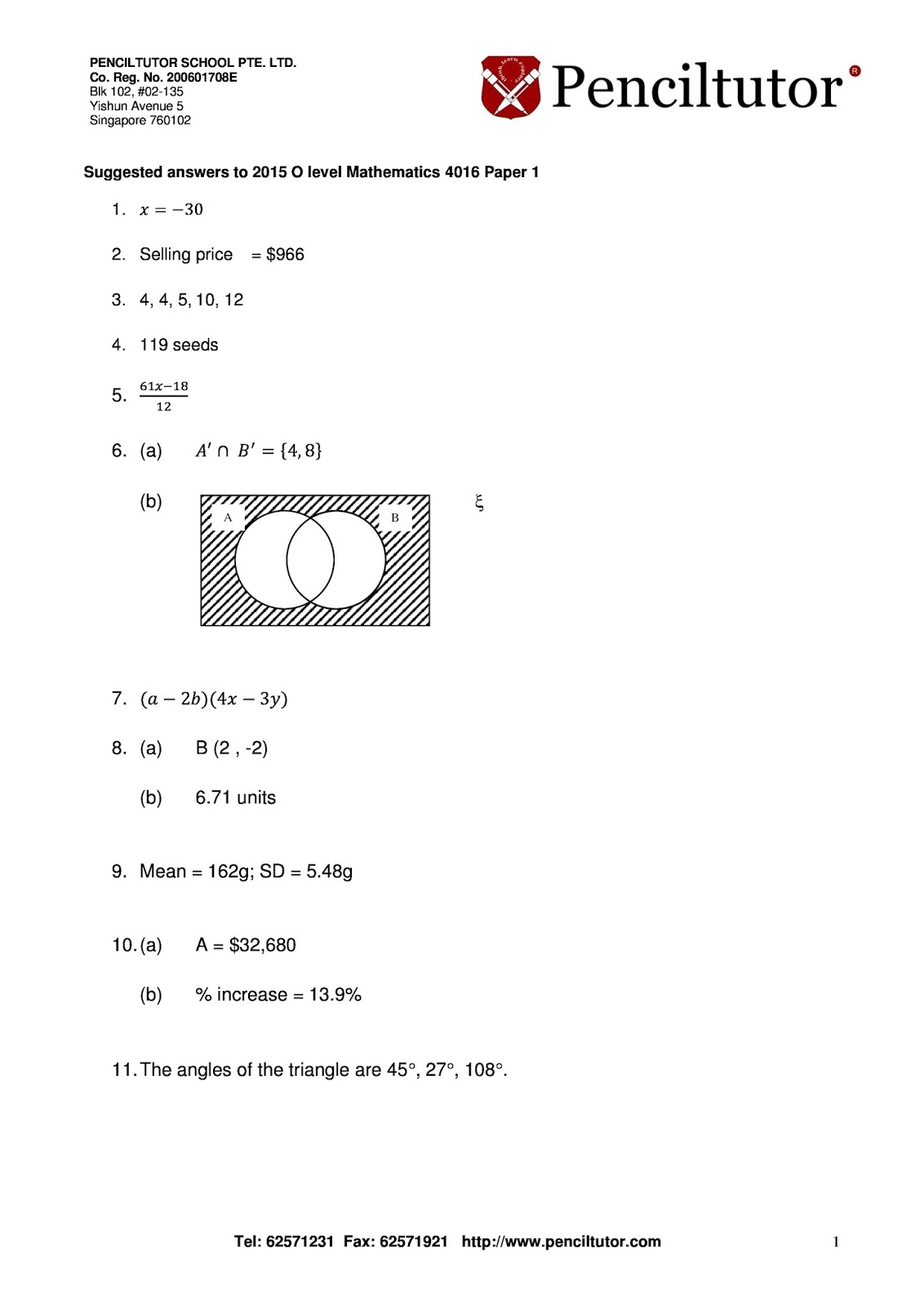 Penciltutor S Answers To O Level And Igcse Papers Suggested Answers To O Level E