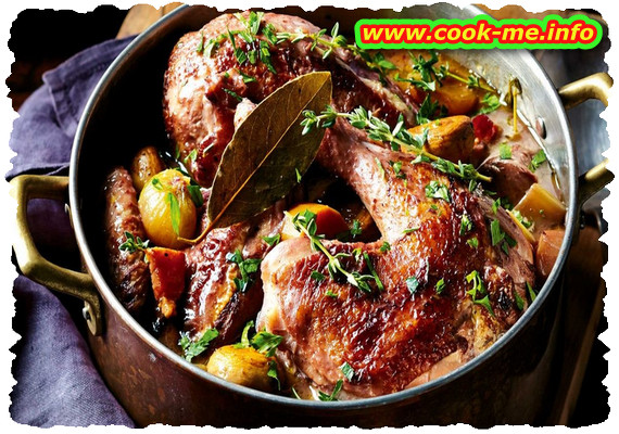 Coq au vin -  is a traditional french recipe.