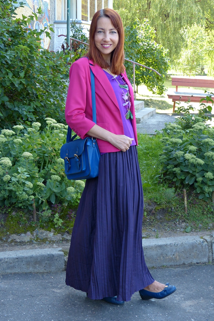 Violet skirt and top and fuchsia jacket