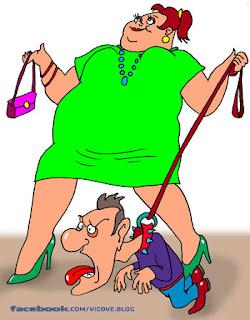 смешни картинки - жена командва мъж - карикатура