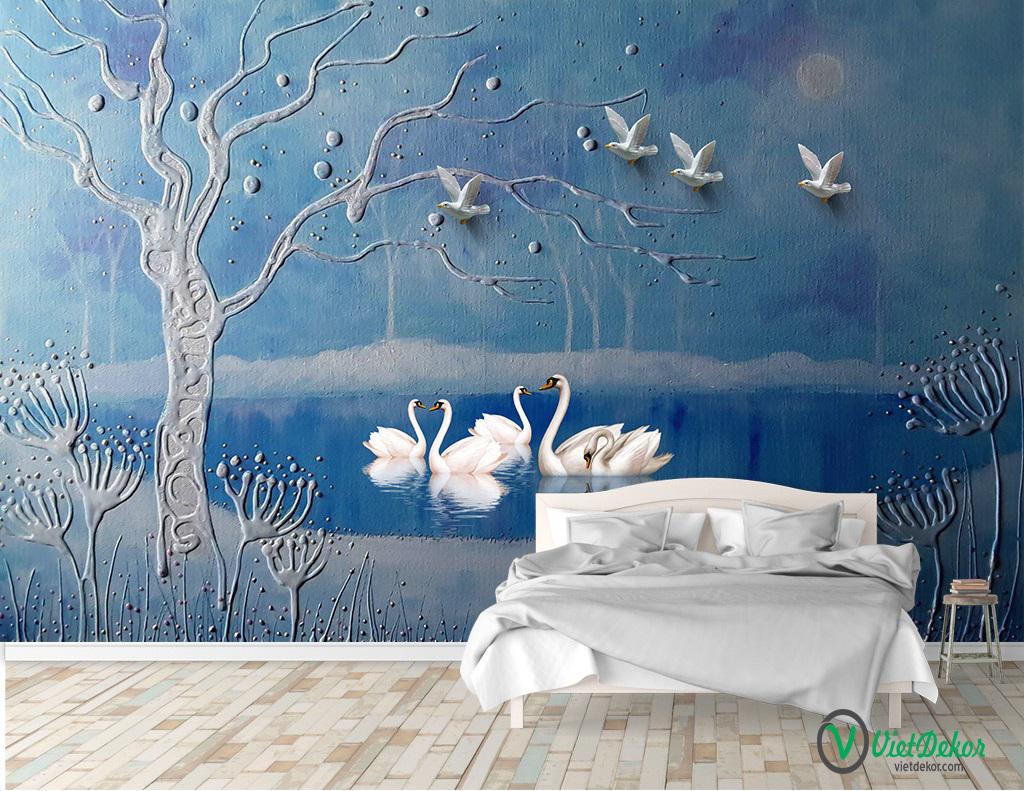 Tranh dán tường 3d thiên nga trang trí phòng khách