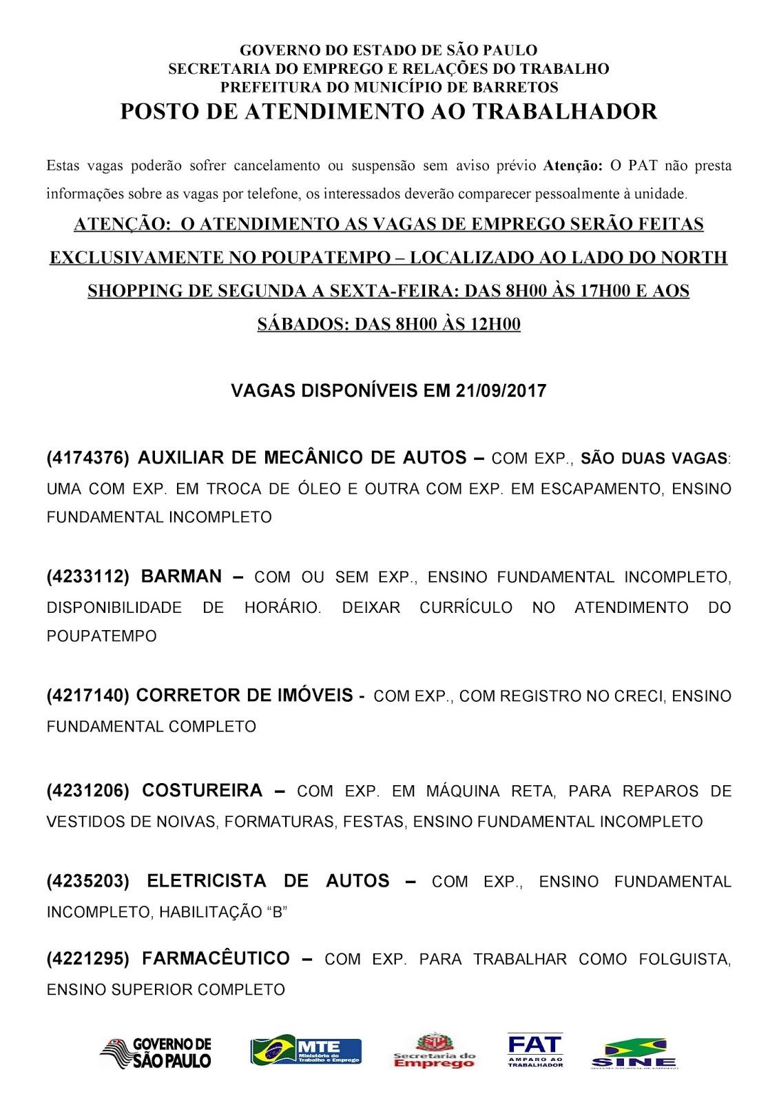 VAGAS DE EMPREGO DO PAT BARRETOS-SP PARA 21/09/2017 QUINTA-FEIRA - Pag. 1