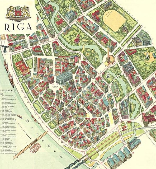 Не построенное здание управы с высотной башней на Ратушной площади тем не менее попало на туристическую карту Риги 1939 года.