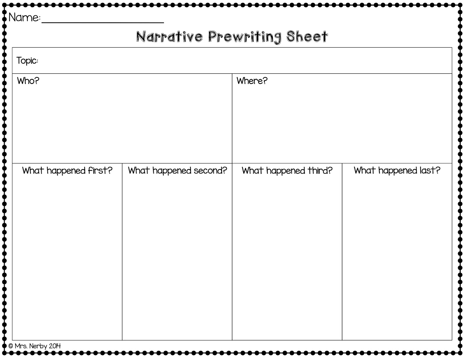 Narrative Writing Freebie