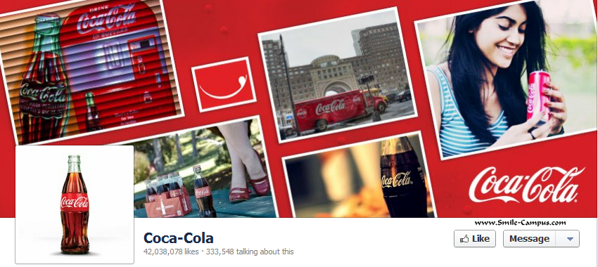 Facebook page of Coca Cola