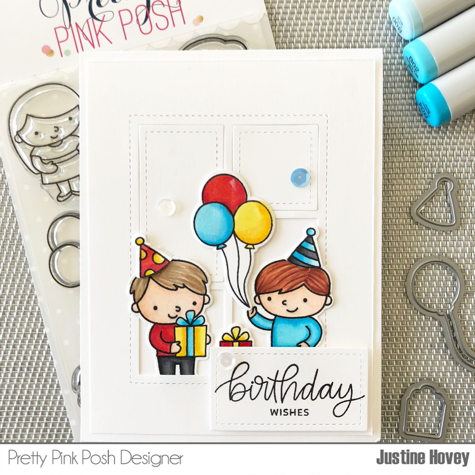 Justines cardmaking quick copic marker tips birthday card tutorial today i created a birthday card using pretty pink poshs birthday friends stamp and die set how adorable are these little guys i always have trouble with bookmarktalkfo Choice Image