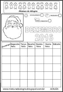 Calendário dezembro 2016 colorir